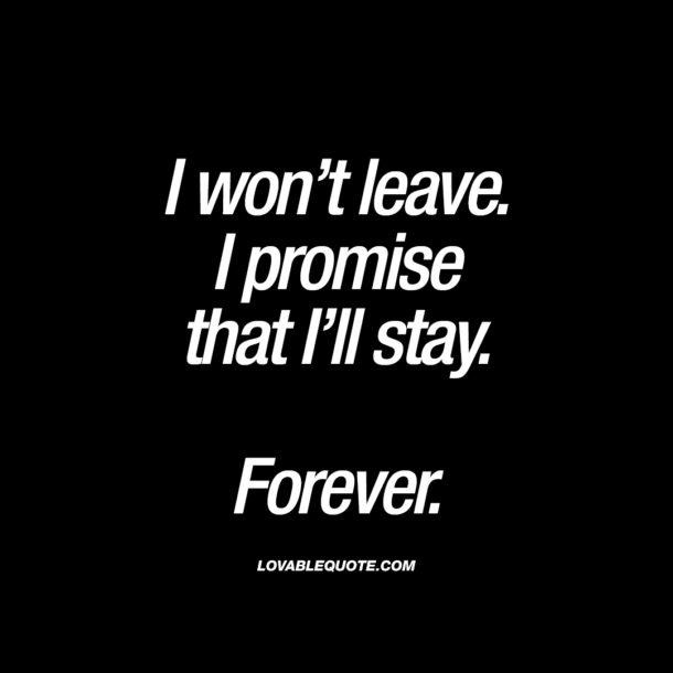 I won't leave. I promise that I'll stay.  Forever.