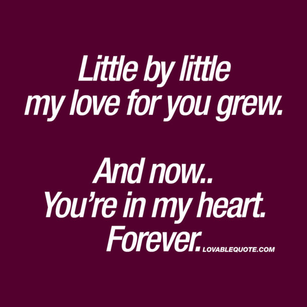 Little by little my love for you grew. And now.. You're in my heart. Forever.